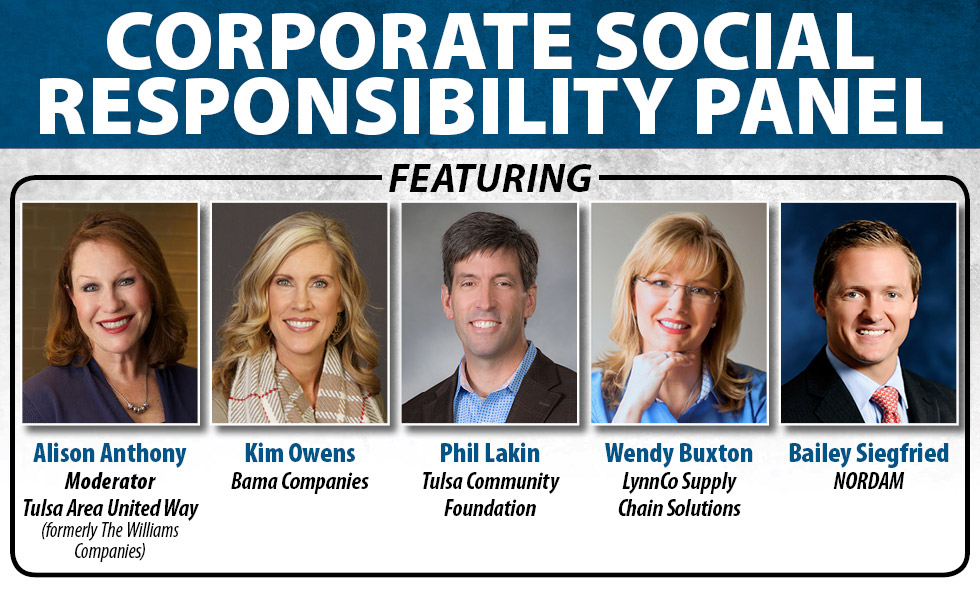 Corporate Social Responsibility Panel featuring Alison Anthony, Kim Owens, Phil Lakin, Wendy Buxton, and Bailey Siegfried