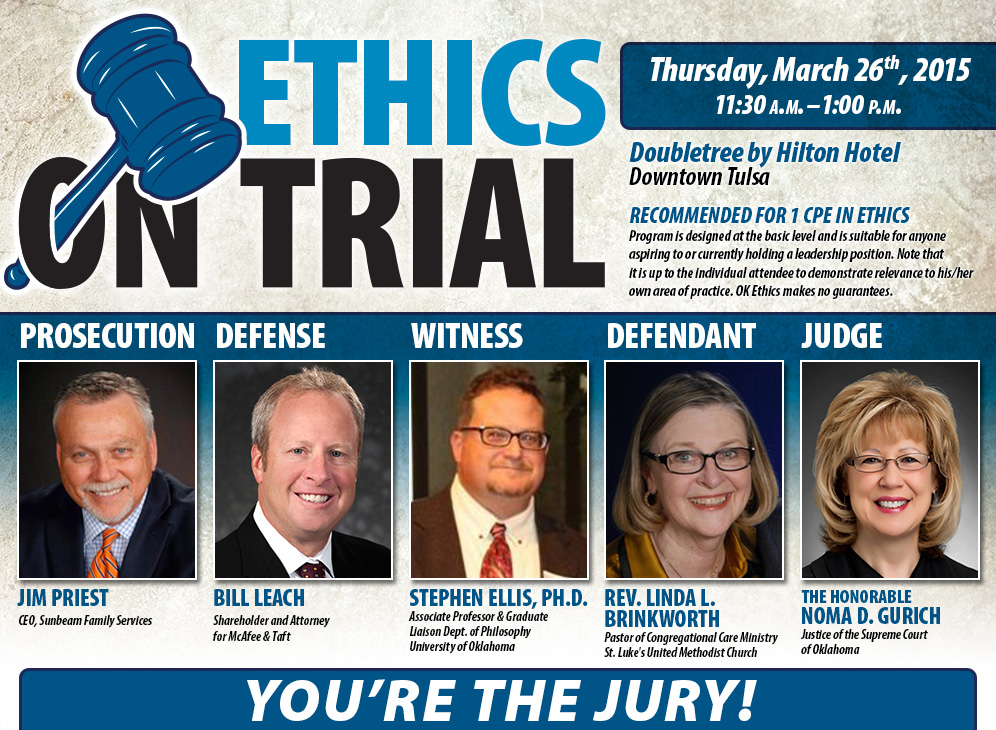 Ethics on Trial. Wednesday, January 14, 2015 at Saint Lukes United Methodist Church