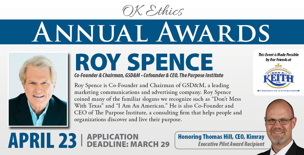 OK Ethics Awards 2019 Featuring Roy Spence and honoring Thomas Hill